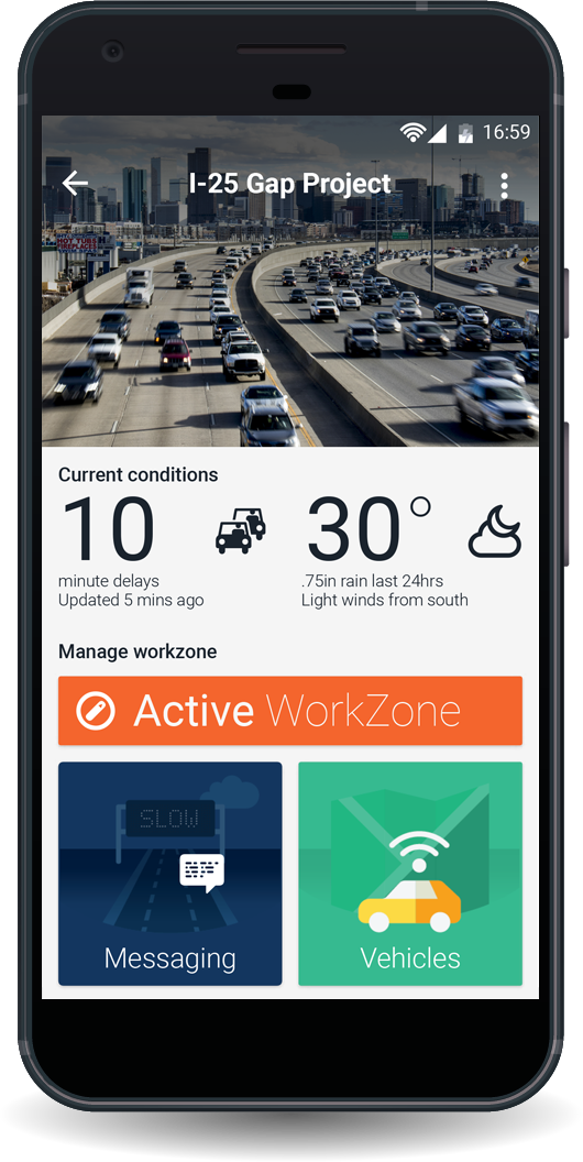 Smart Work Zone Mobile Application User interface